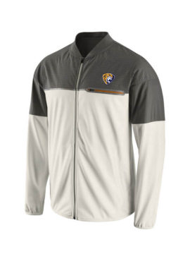 Men`s WhiteGray Champ Drive Flash Hybrid Full-Zip Jacket