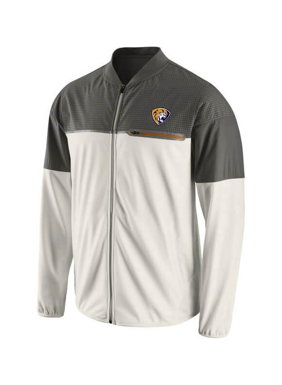 Men`s WhiteGray Champ Drive Flash Hybrid Full-Zip Jacket